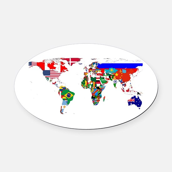 World Map With Flags Oval Car Magnet