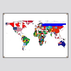 World map banners cafepress world map with flags banner gumiabroncs Images