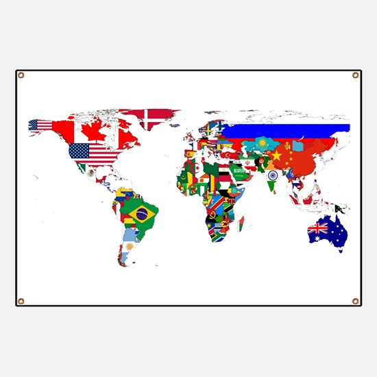 World Map With Flags Banner