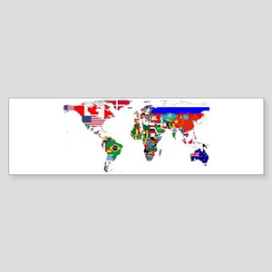 World Map With Flags Bumper Sticker