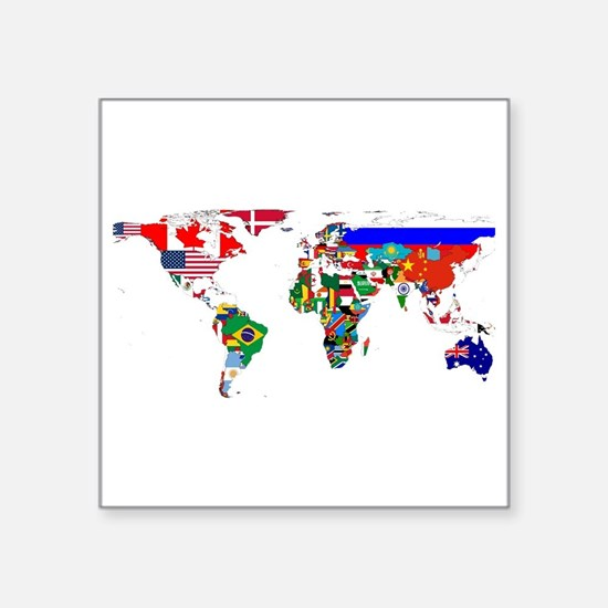 World Map With Flags Sticker