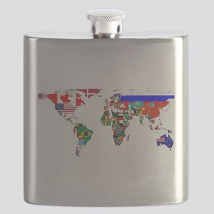World Map With Flags Flask