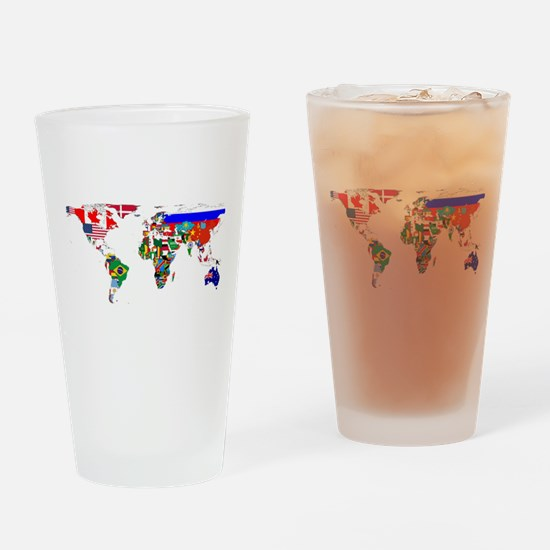 World Map With Flags Drinking Glass