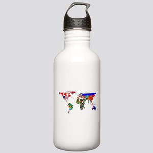 World Map With Flags Water Bottle