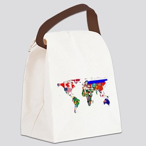 World Map With Flags Canvas Lunch Bag