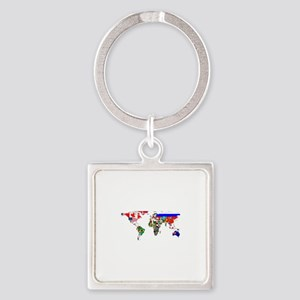 World Map With Flags Keychains