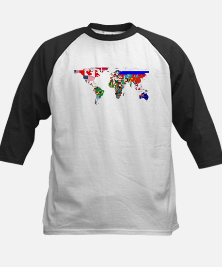 World Map With Flags Baseball Jersey
