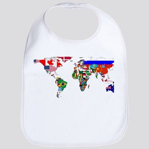 World Map With Flags Bib