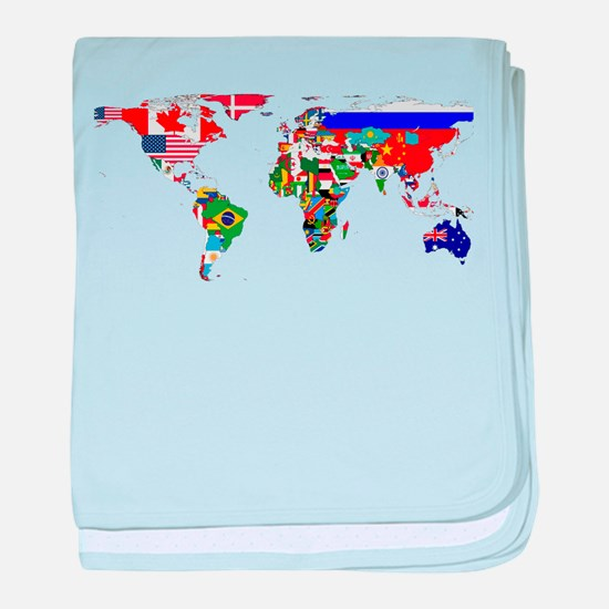 World Map With Flags baby blanket
