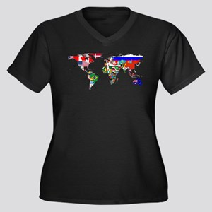 World Map With Flags Plus Size T-Shirt