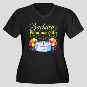 FUN 50TH BIR Women's Plus Size V-Neck Dark T-Shirt