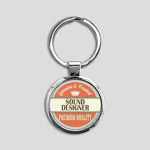 sound designer vintage logo Round Keychain