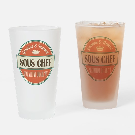 sous chef vintage logo Drinking Glass