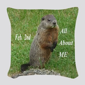 Groundhog Day Woven Throw Pillow