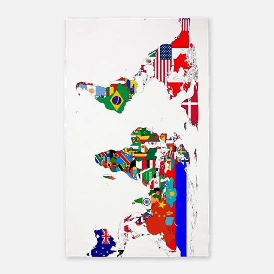 World Map With Flags Area Rug