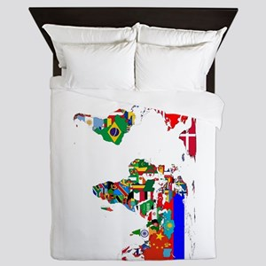 World Map With Flags Queen Duvet