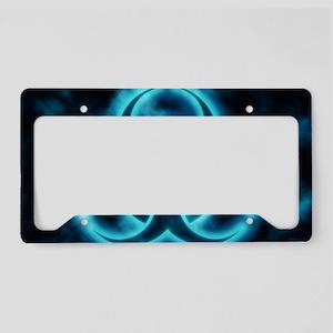 Blue Biohazard Symbol License Plate Holder