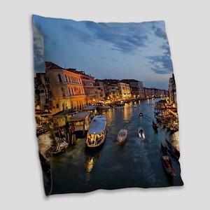 VENICE CANAL Burlap Throw Pillow