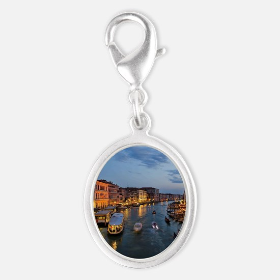 VENICE CANAL Silver Oval Charm