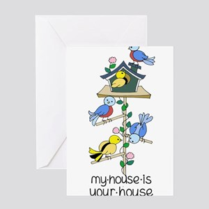 Bright Bird Houses Quote My House i Greeting Cards