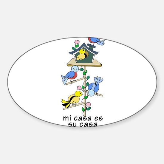 Colorful Bird Houses and Birds Spanish Lan Decal