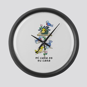 Colorful Bird Houses and Birds Sp Large Wall Clock