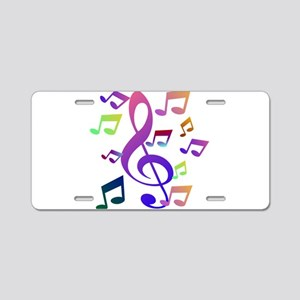 Key sol and music note Aluminum License Plate