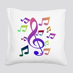 Key sol and music note Square Canvas Pillow