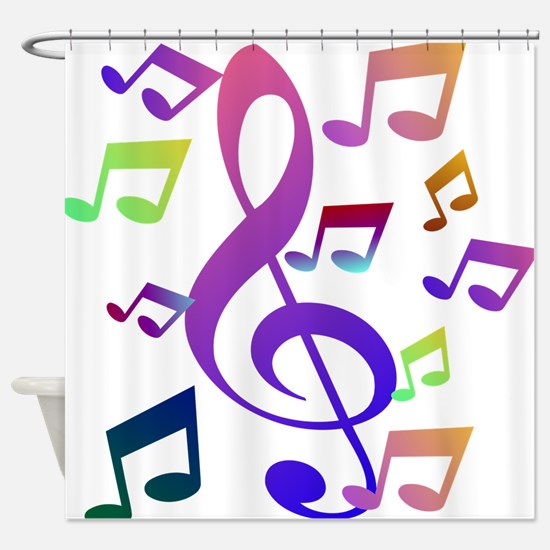 Key sol and music note Shower Curtain