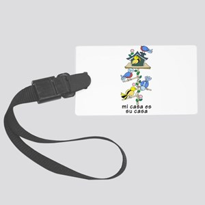 Colorful Bird Houses and Birds S Large Luggage Tag