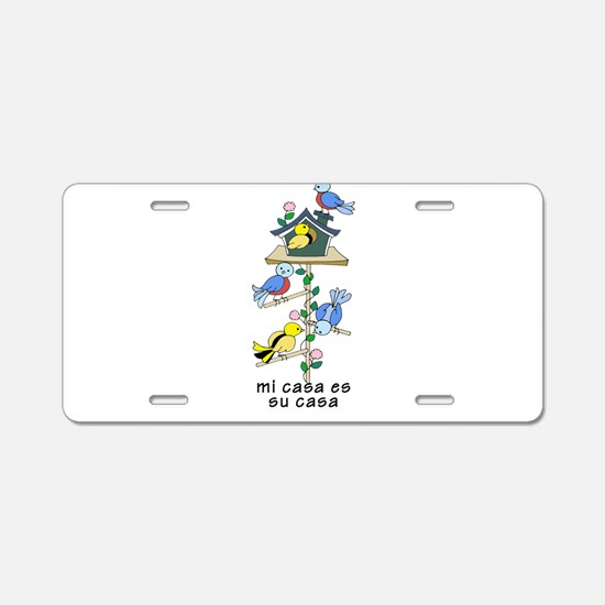 Colorful Bird Houses and Bi Aluminum License Plate