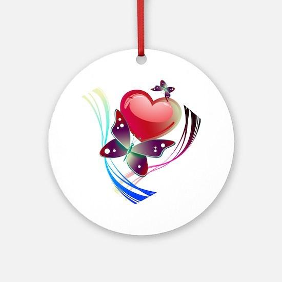 Love Swirl Butterfly Round Ornament