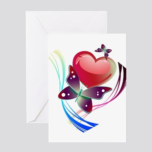 Love Swirl Butterfly Greeting Cards