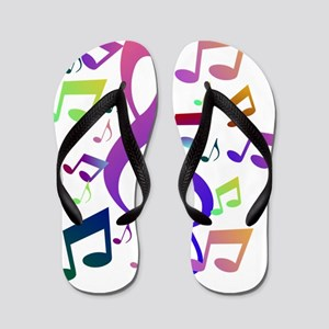 Key sol and music notes Flip Flops
