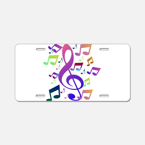 Key sol and music notes Aluminum License Plate