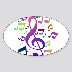Key sol and music notes Sticker
