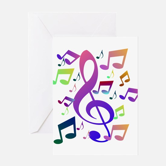 Key sol and music notes Greeting Cards