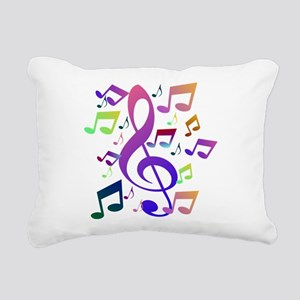 Key sol and music notes Rectangular Canvas Pillow