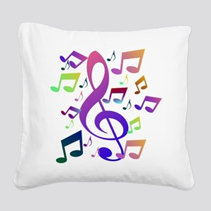 Key sol and music notes Square Canvas Pillow