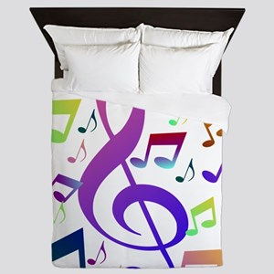 Key sol and music notes Queen Duvet
