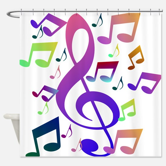 Key sol and music notes Shower Curtain