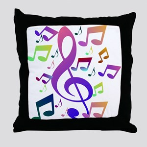Key sol and music notes Throw Pillow
