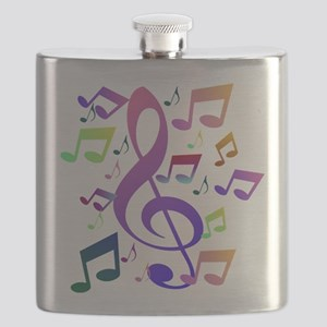 Key sol and music notes Flask