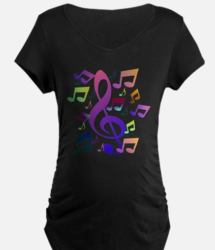 Key sol and music notes Maternity T-Shirt