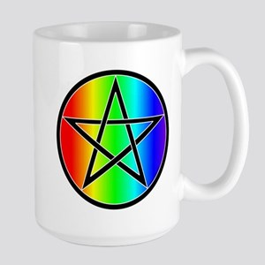 Rainbow with Black Pentacle Large Mug