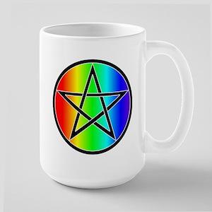 Rainbow with Black Pentacle Large Mug