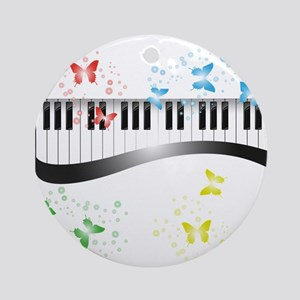 Butterfly piano music Round Ornament