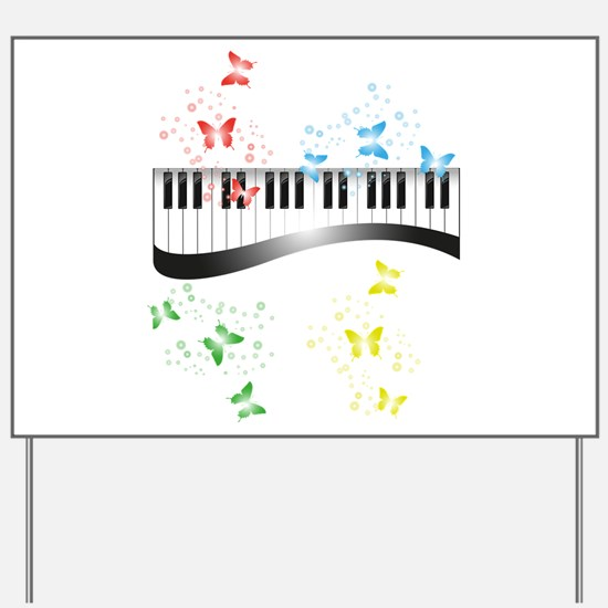 Butterfly piano music Yard Sign