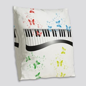 Butterfly piano music Burlap Throw Pillow
