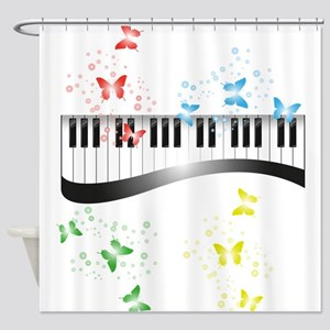 Butterfly piano music Shower Curtain